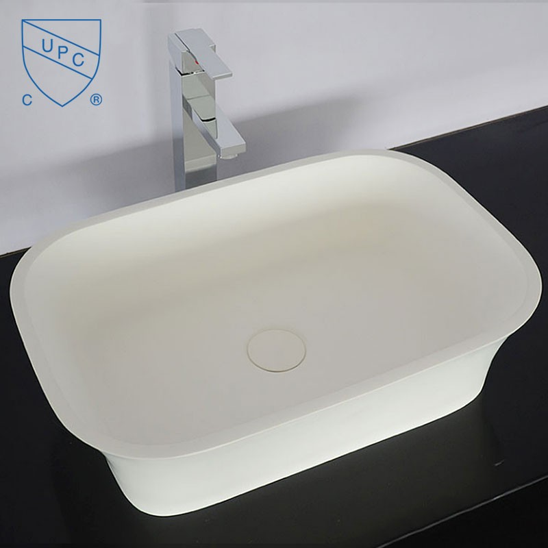 White Rectangular Artificial Stone Above Counter Bathroom Vessel Sink (DK-HB9030)