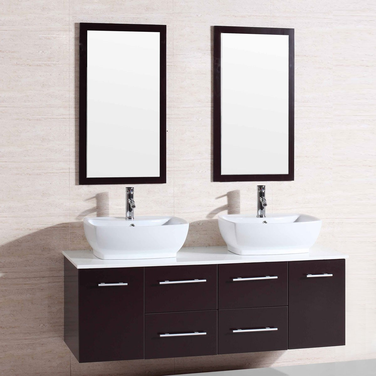 60 in wall mount bathroom vanity set with double sinks for Lavabo noir salle de bain