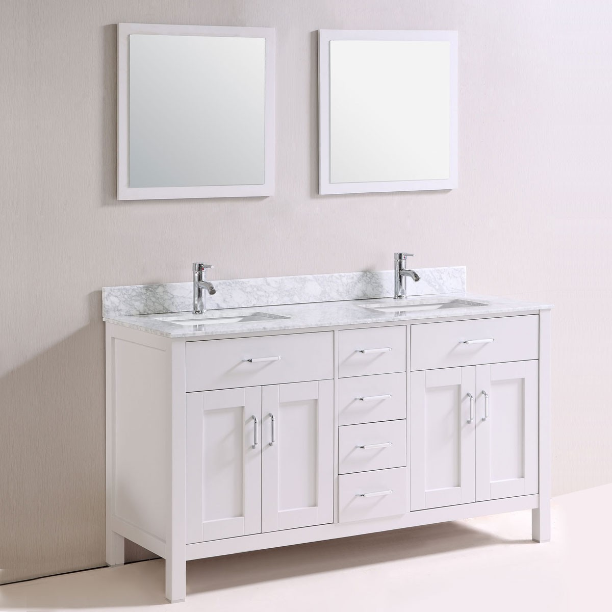 60 In. Freestanding Bathroom Vanity Set With Double Sinks And Mirrors  (DK-T9150