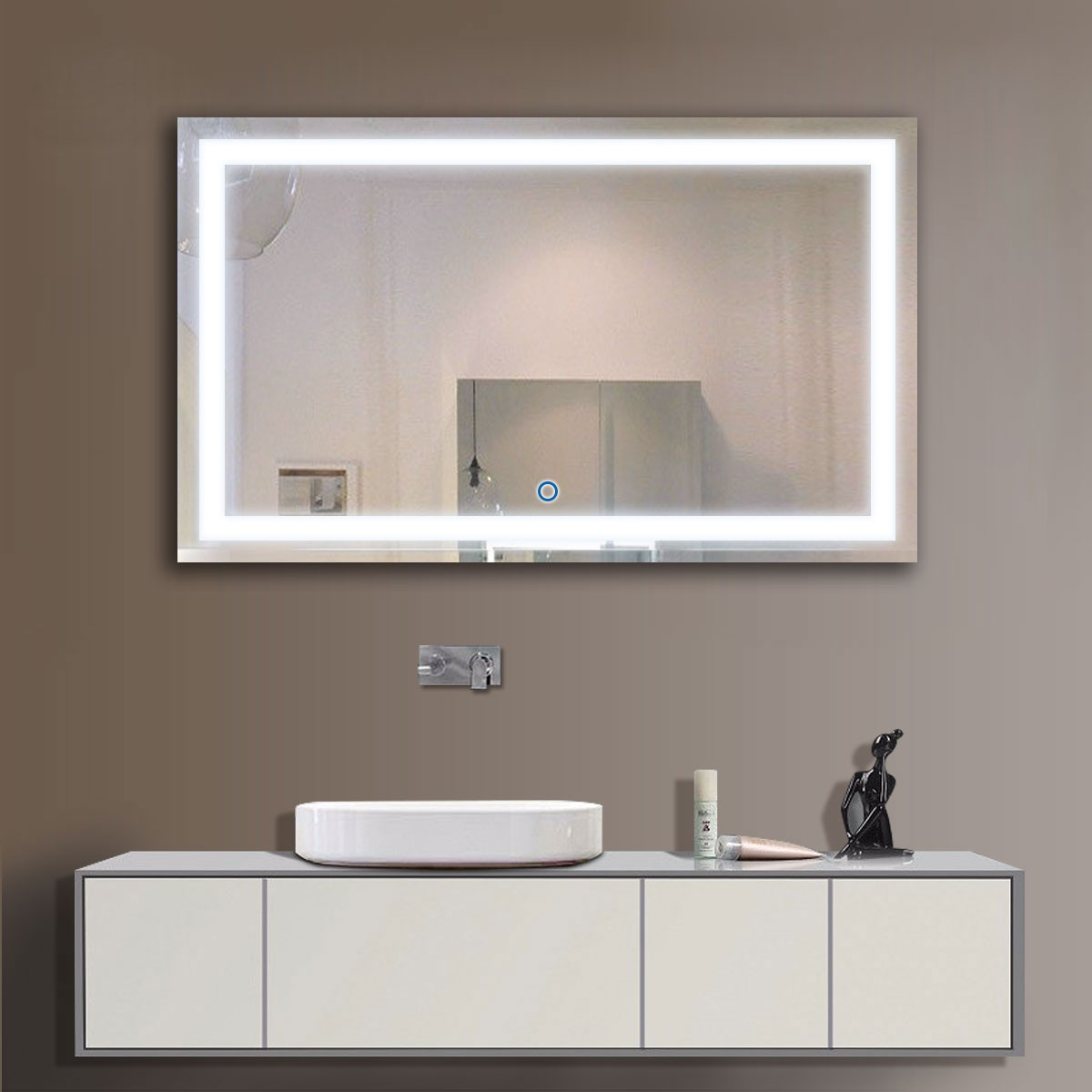 40 x 24 in horizontal led bathroom silvered mirror with touch button dk od ck010 g. Black Bedroom Furniture Sets. Home Design Ideas