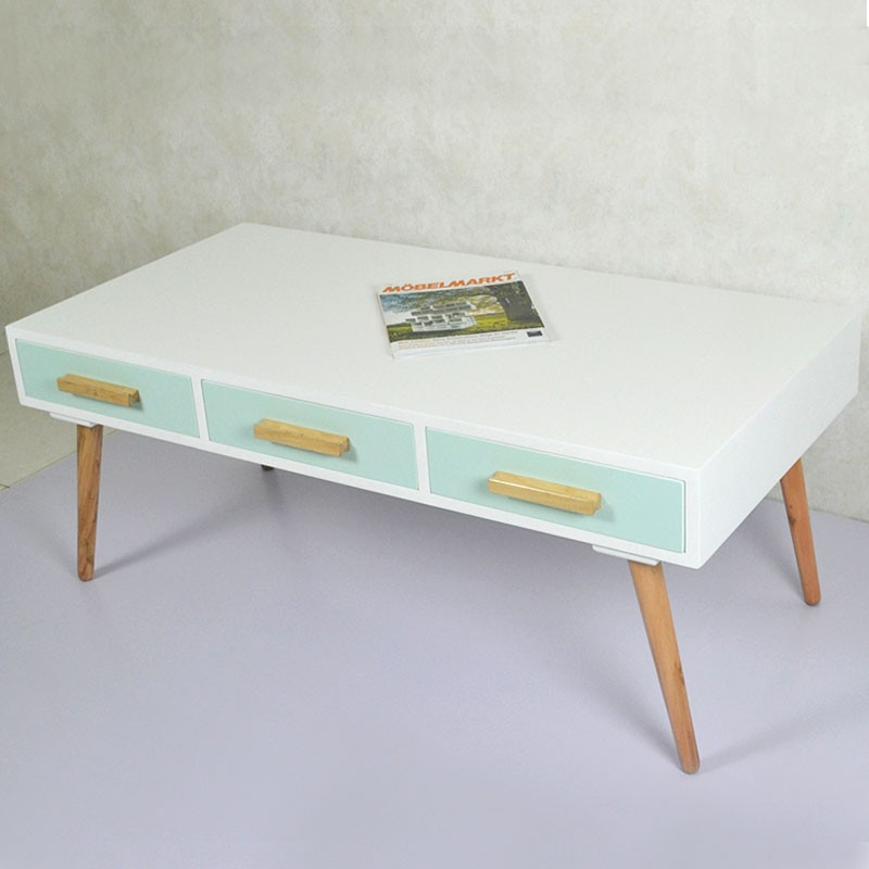 47.2''W Rectangular Wood Coffee Table with 3 Drawers (JI3298)