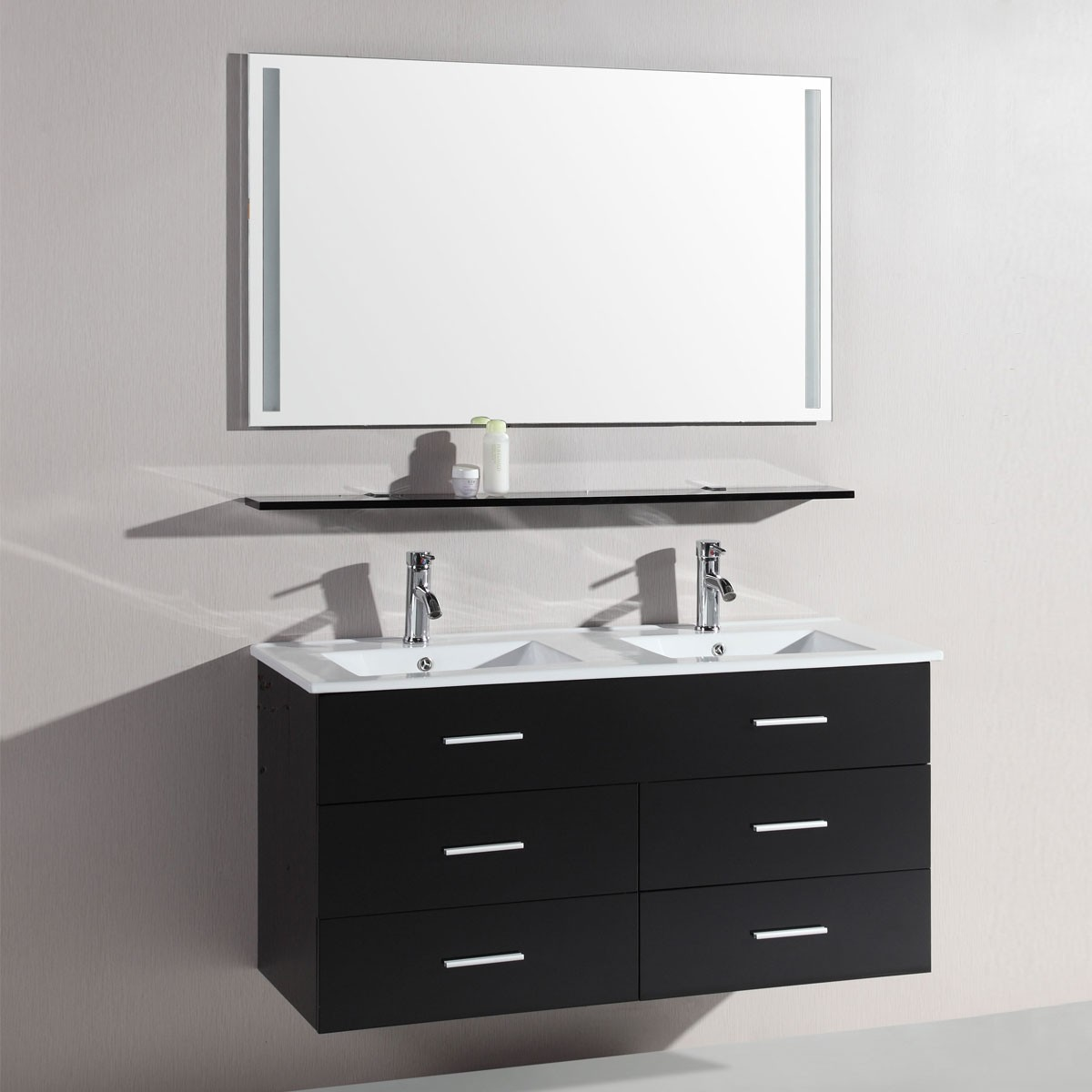 48 In. Wall Hung Bathroom Vanity Set With Double Sinks And Mirror (DK-