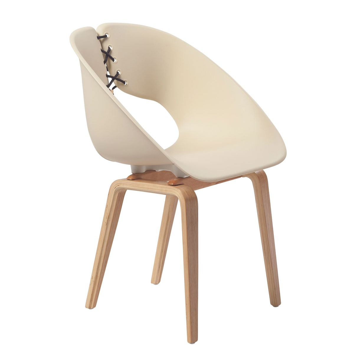 Molded Plastic Chair in Beige with Wood Legs - (YMG-9303B-1)