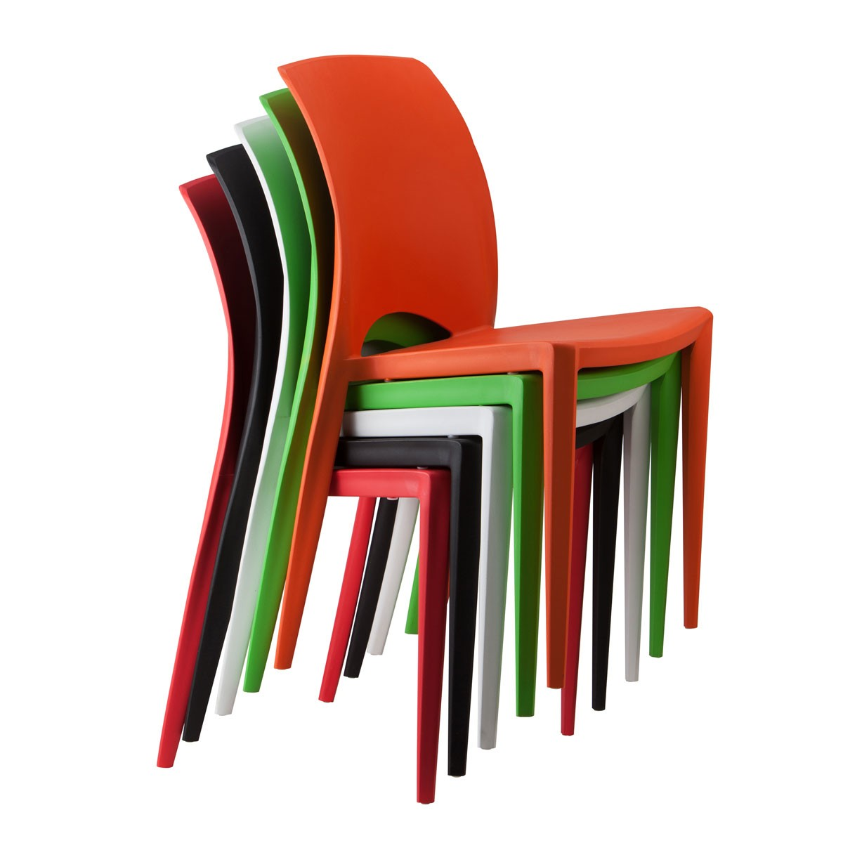 Molded Plastic Chair in White - (YMG-9908-2)