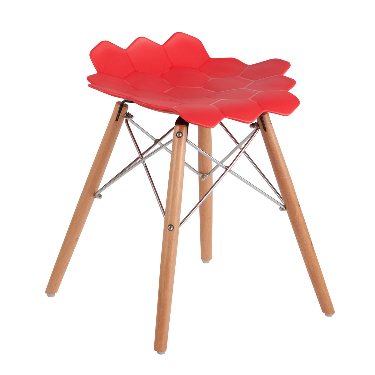 Molded Plastic Chair in Red with Wood Legs - (YMG-9211-1)