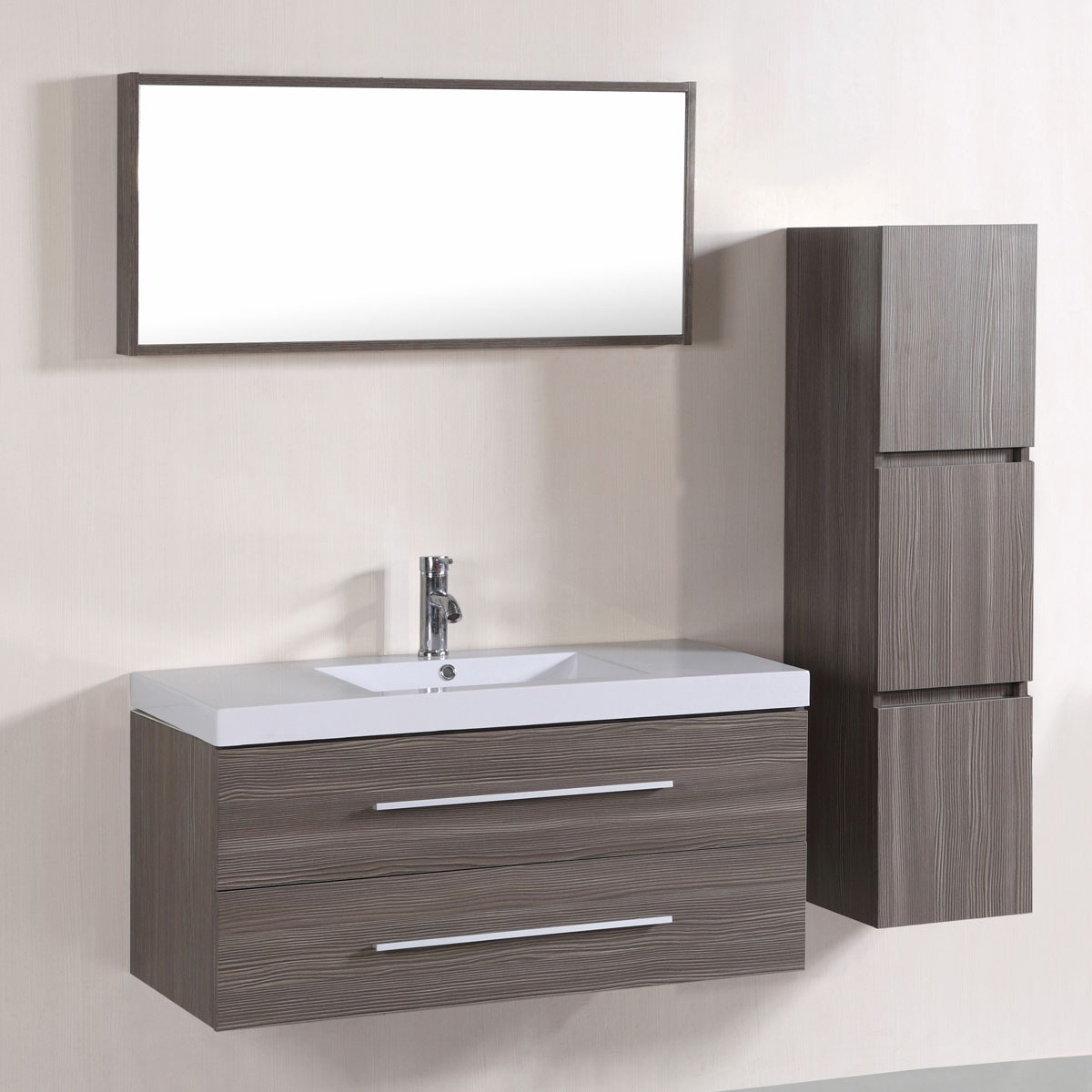 40 In Wall Mount Bathroom Vanity Set With Single Sink And Mirror Cabinet