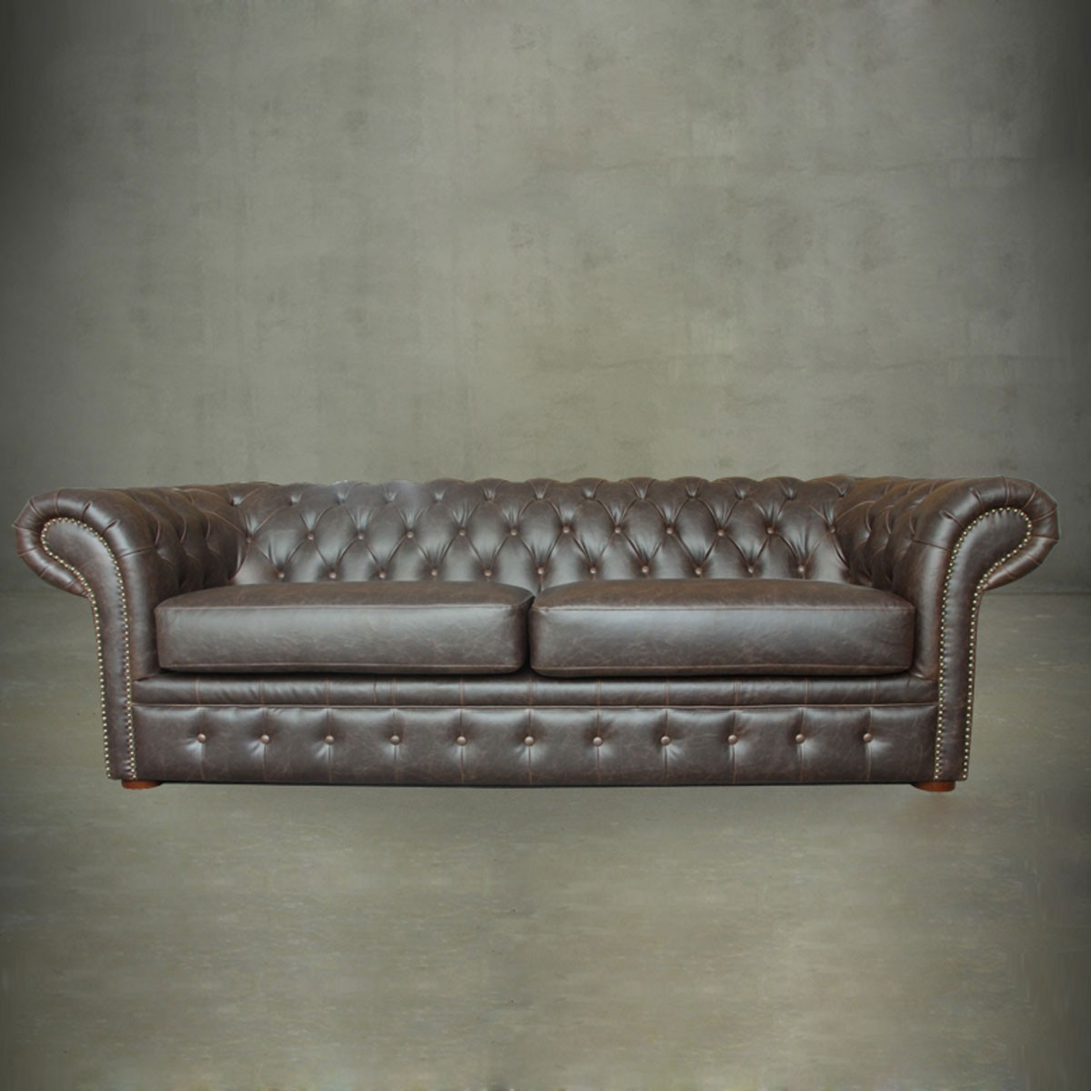 Top Grain Leather Tufted Chesterfield Sofa (PJS06603)