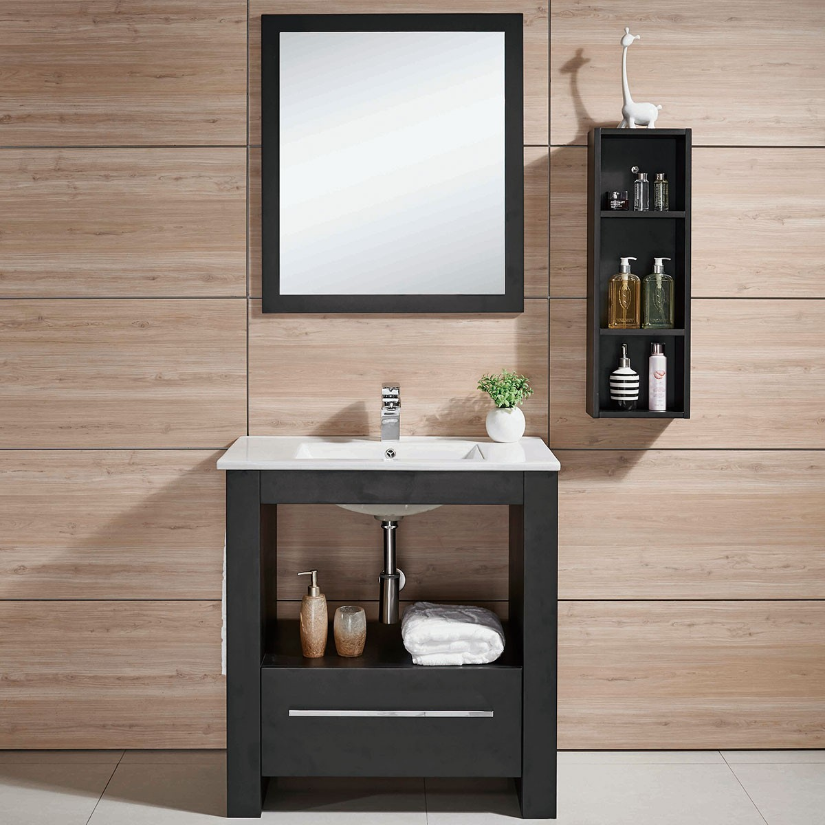 24 In. Freestanding Bathroom Vanity Set With Single Sink And Mirror And  Cabinet (DK