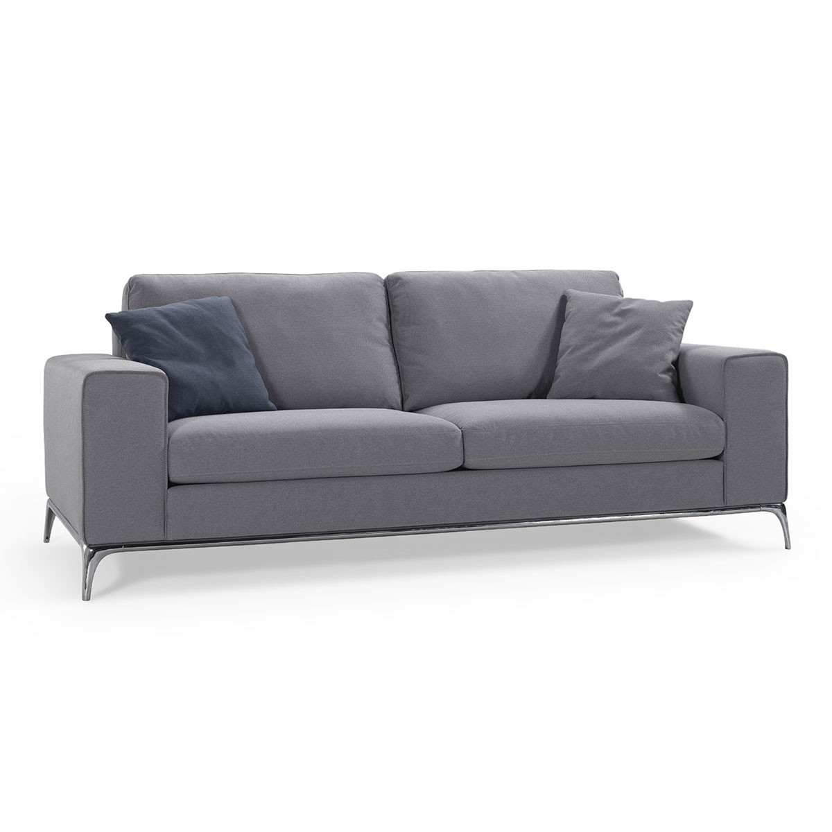 Fabric Loveseat Sofa with Pillows - Grey (BO-438)
