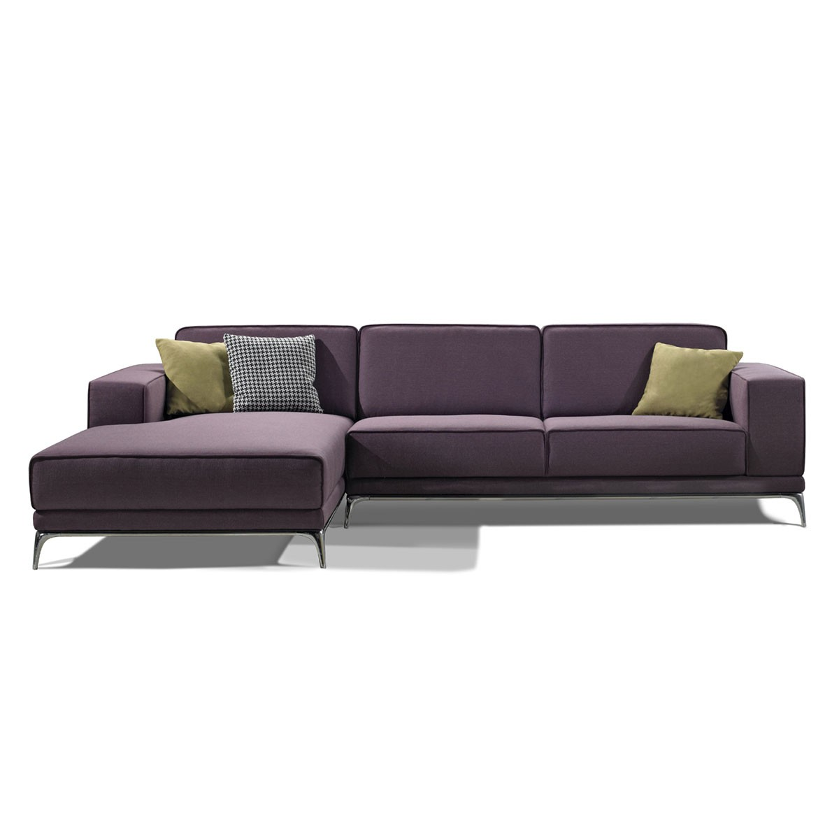 Fabric Left-facing Chaise Sectional with Pillows - Purple (BO-9981)