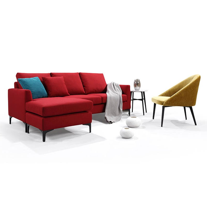 Fabric 3 Seater Sofa with Ottoman and Pillows - Red (BO-0695)