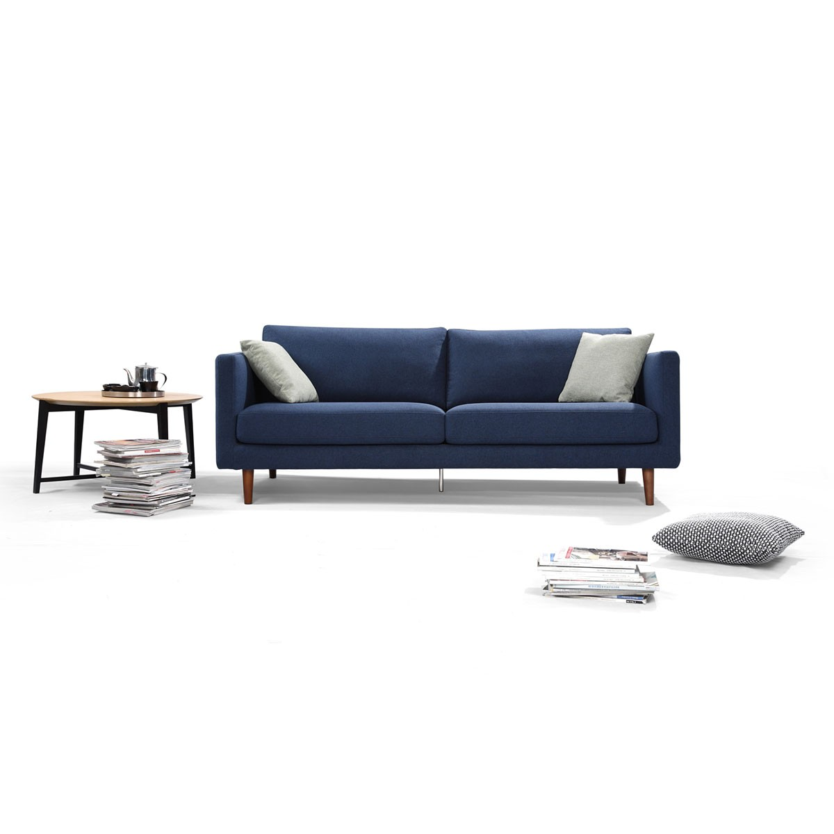 Fabric Loveseat Sofa with Pillows - Blue (BO-617-2S)