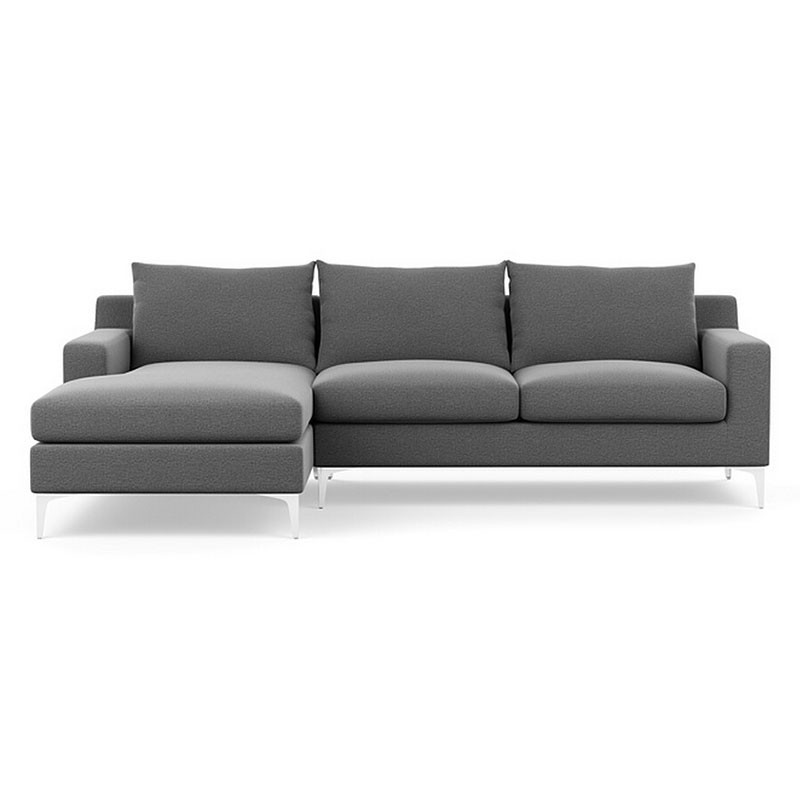 Fabric Left-facing Chaise Sectional with Pillows - Grey (BO-301)