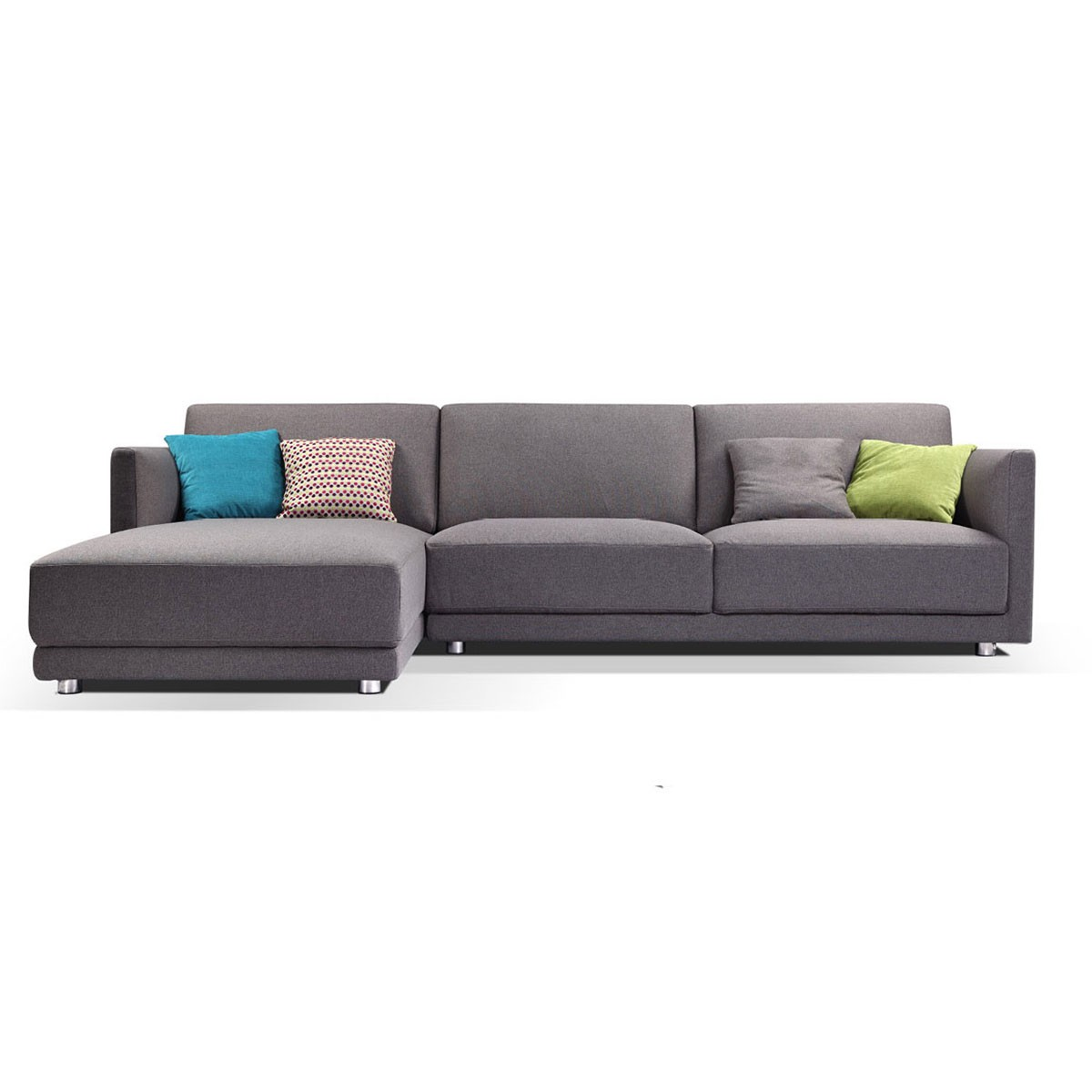 Fabric Left-facing Chaise Sectional with Pillows - Grey (BO-0637)