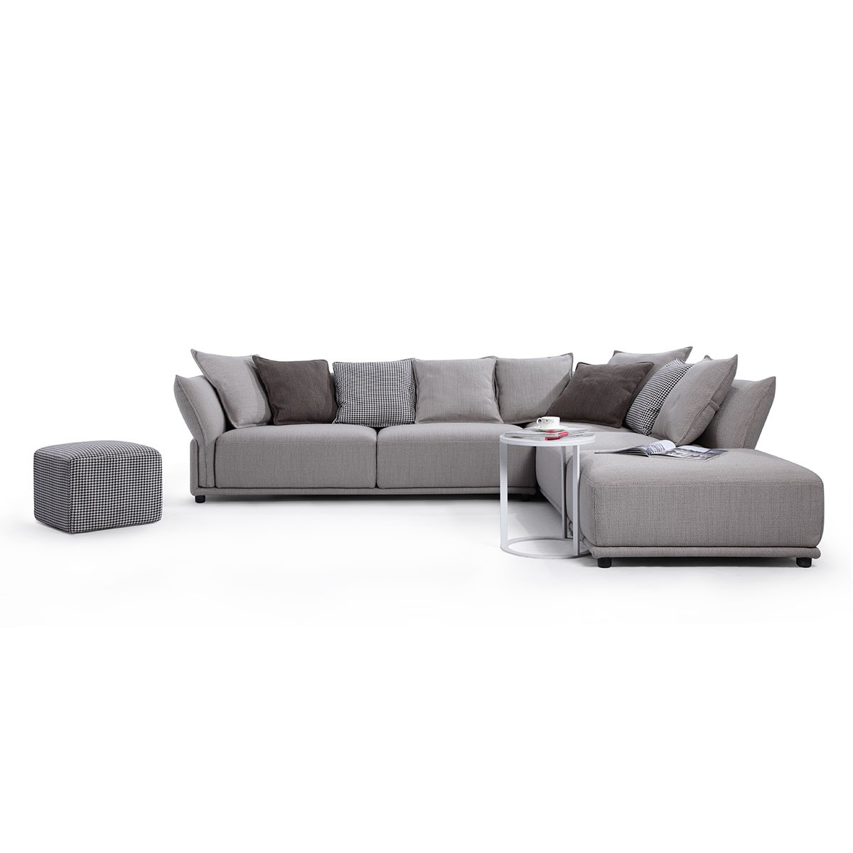 Fabric Right-facing Chaise Sectional with Ottoman and Pillows - Grey (BO-9081)