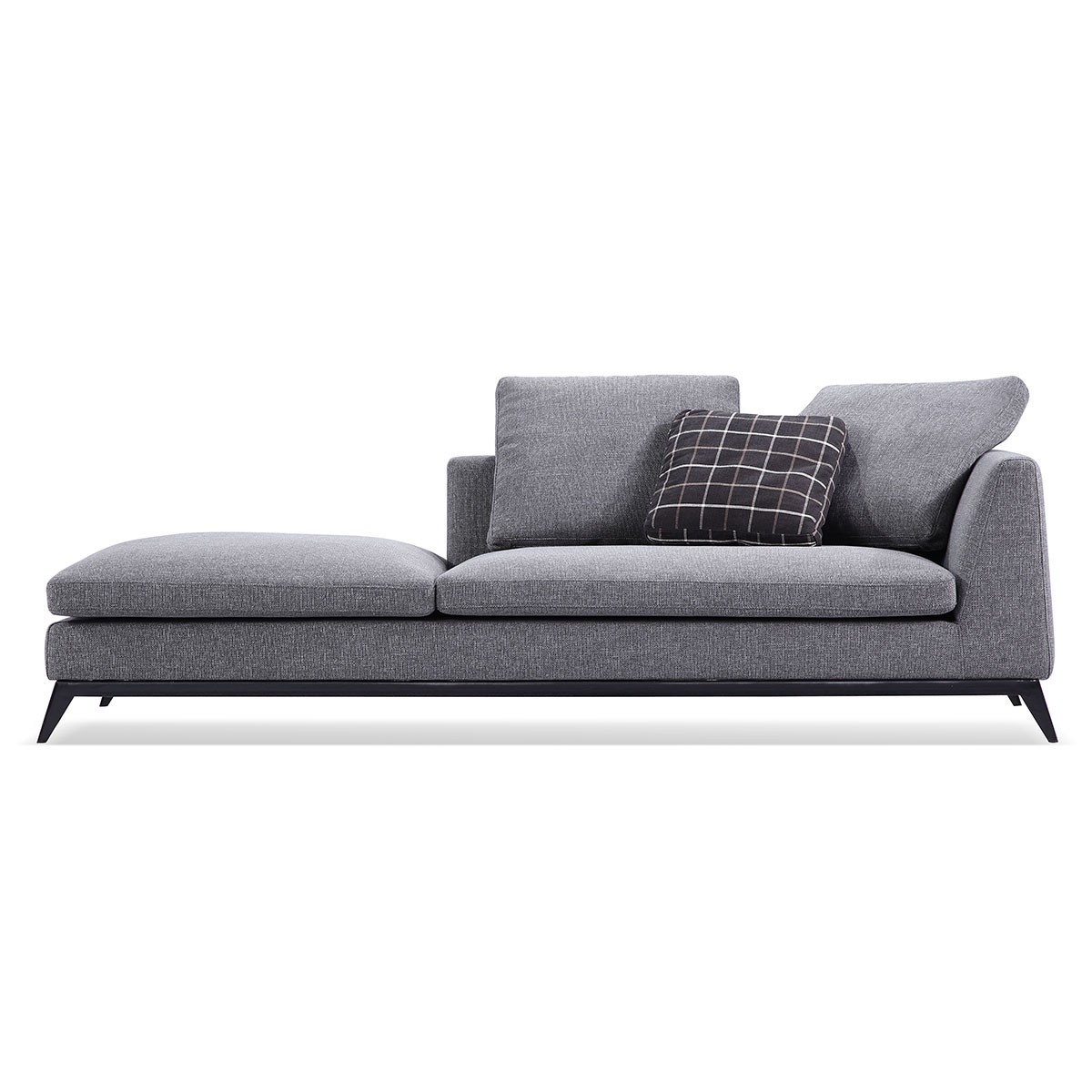 Fabric Left-facing Chaise Sectional with Pillows - Grey (BO-613)