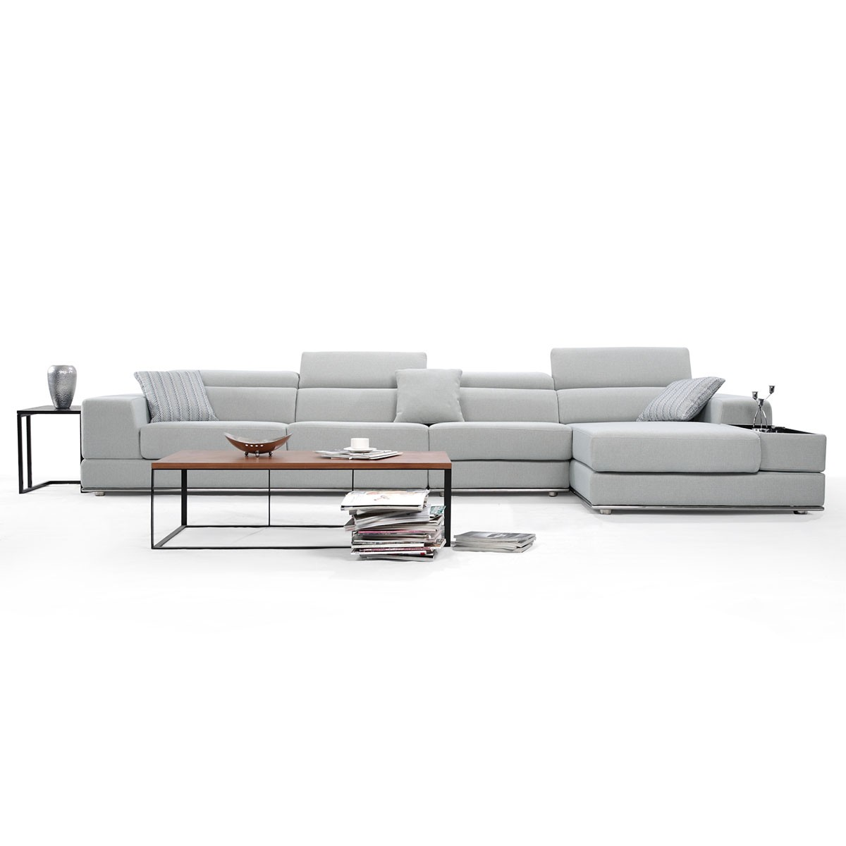 Fabric Right-facing Chaise Sectional with Pillows - Grey (BO-9830)