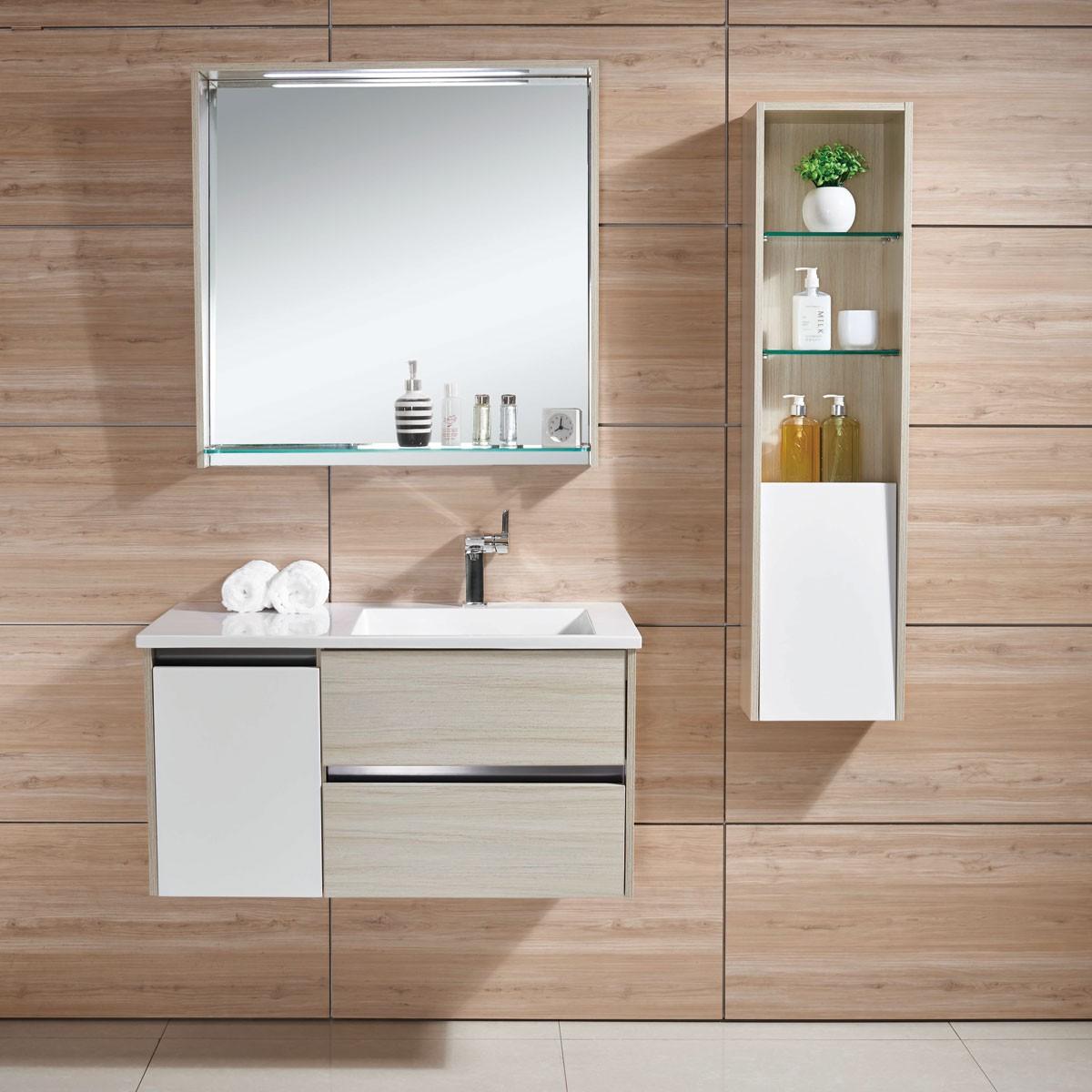 24 In. Wall Mount Bathroom Vanity Set with Single Sink and Mirror (DK-605600)