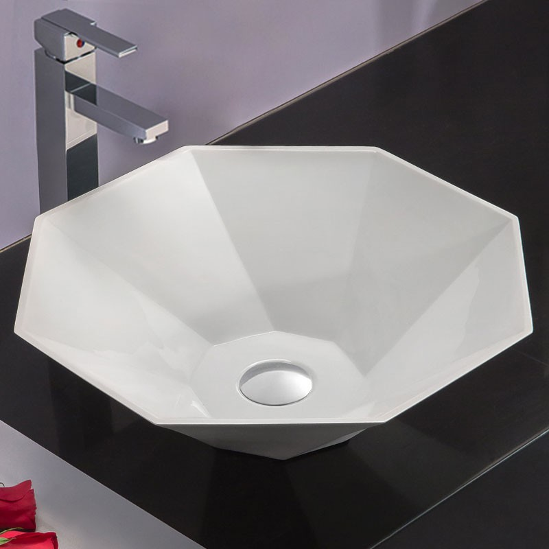 White Artificial Stone Above Counter Bathroom Vessel Sink (DK-HB9037)