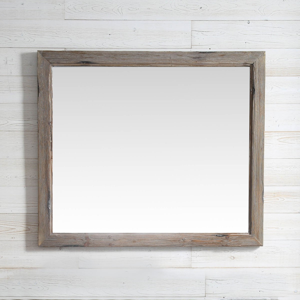 42 x 36 In Bath Vanity Décor Mirror with Fir Wood Frame (DK-WH9342-LB)