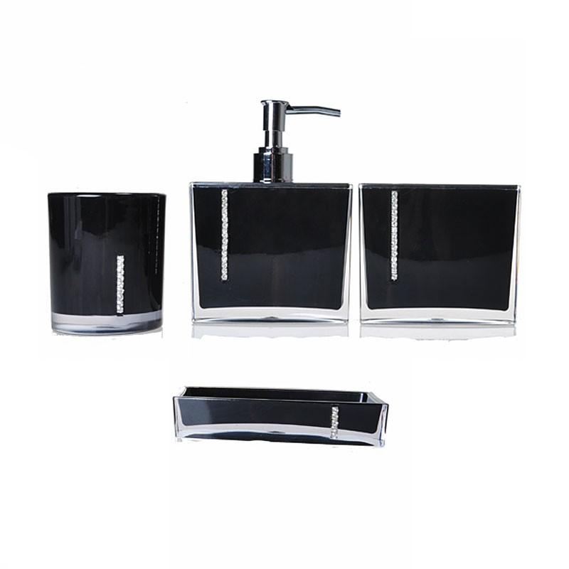 4-Piece Bathroom Accessory Set, Black (DK-ST024)