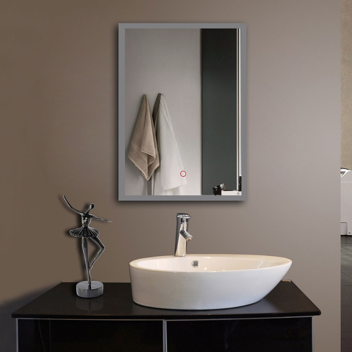 20 X 28 In Vertical Led Bathroom Silvered Mirror With Touch Button