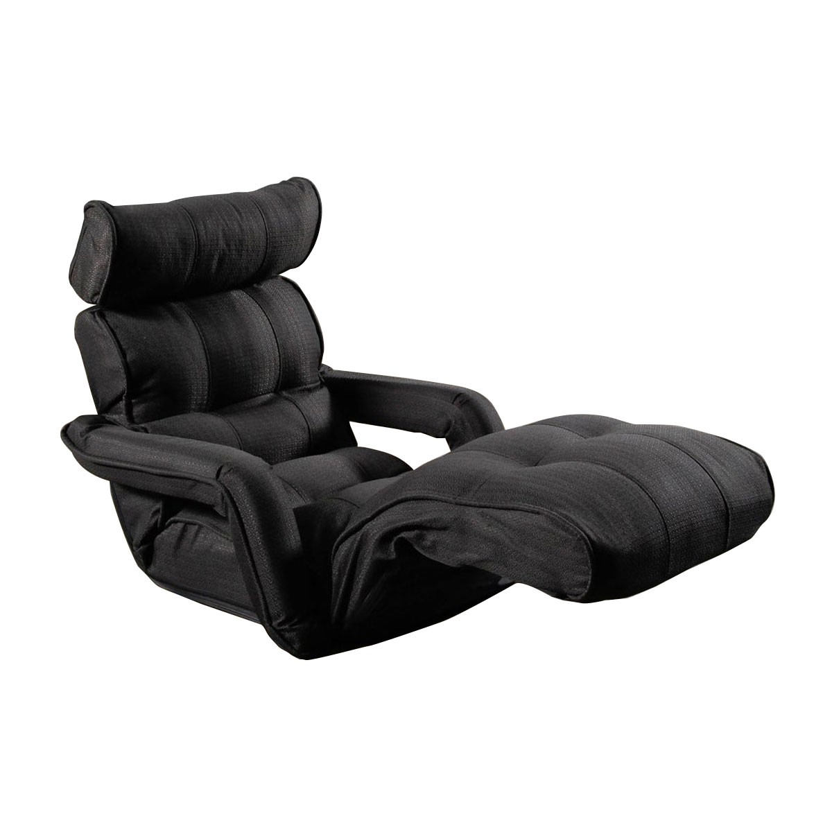 Black Grey Soft Linen Fabric Folding Floor Sofa Recliner (K16RS01-BG)