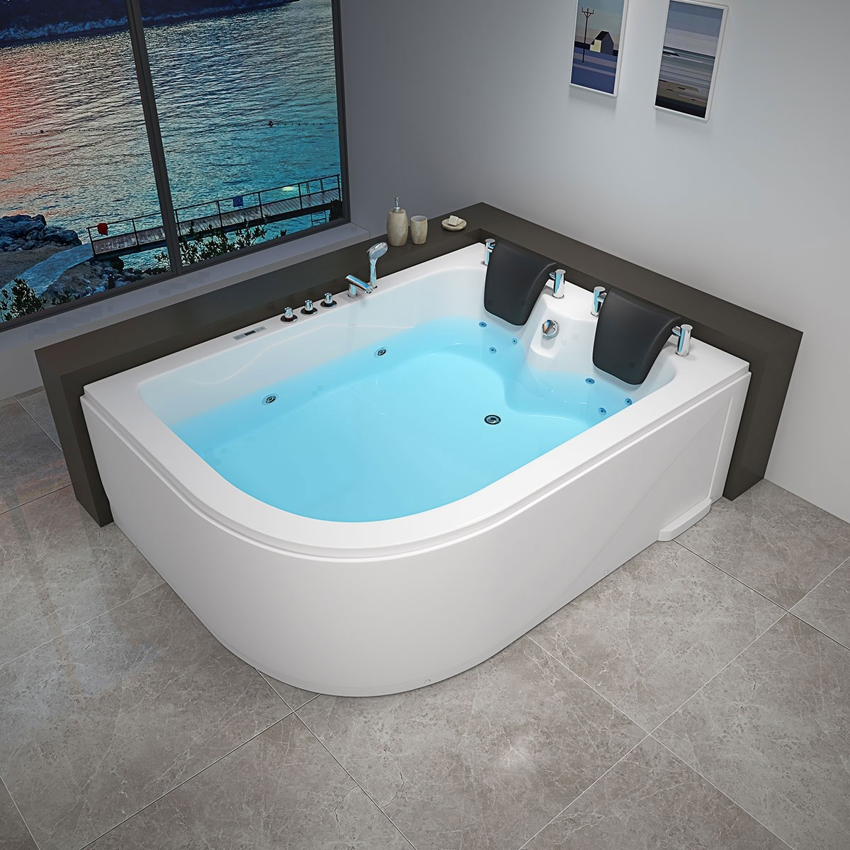 Decoraport 71 x 47 In Whirlpool Tub with Computer Panel, Heater, Ozone (DK-RL-6153)