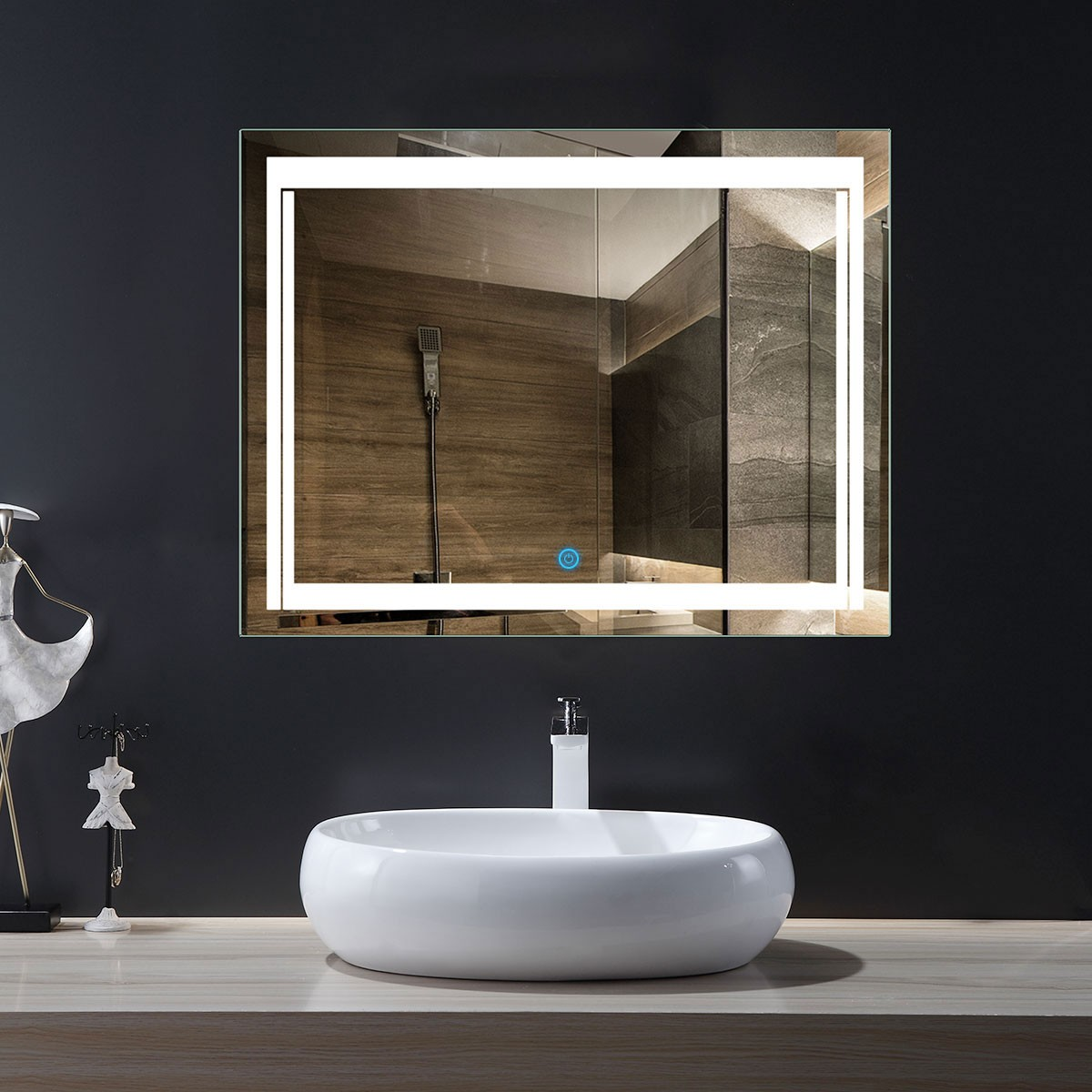 36 x 28 In Horizontal LED Bathroom Mirror with Touch Button (DK-OD-CK150-L)