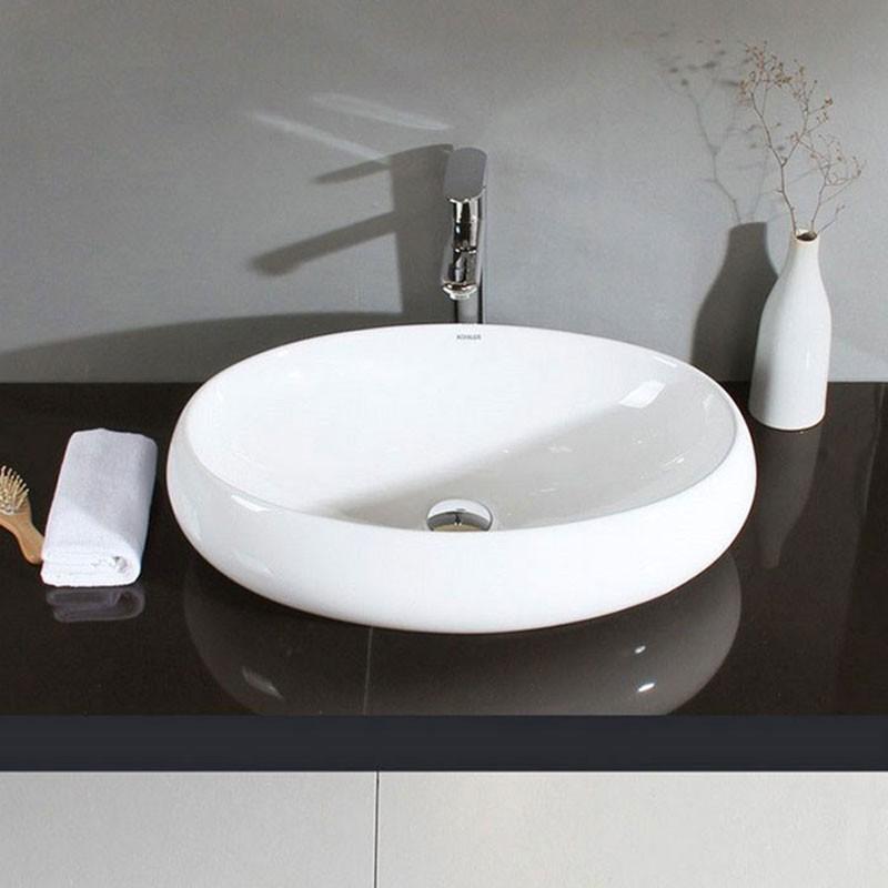 Decoraport White Oval Ceramic Above Counter Basin (CL-1001)