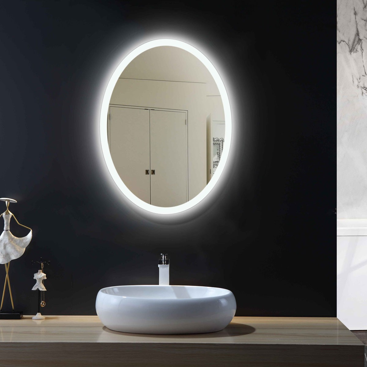 24 x 32 In Vertical Oval LED Bathroom Mirror with Infrared Sensor (DK-OD-CL054-G)