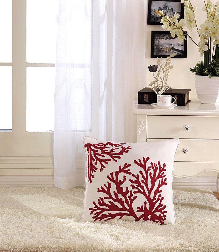 Coral Printed Cotton Cushion Cover (DK-LG003-3)