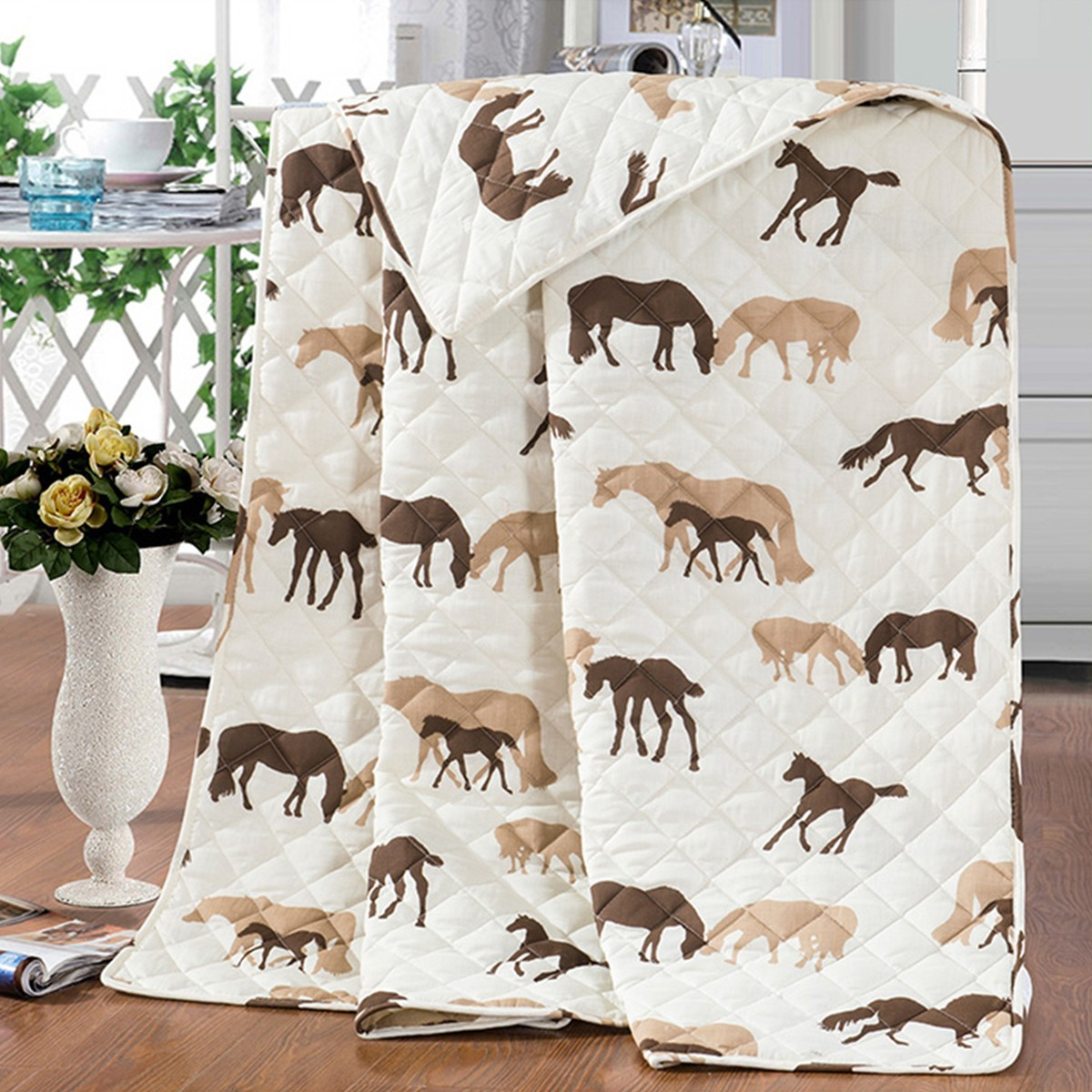 Brown Cartoon Horse Quilt Set with Two Shams, Full (DK-WX021)
