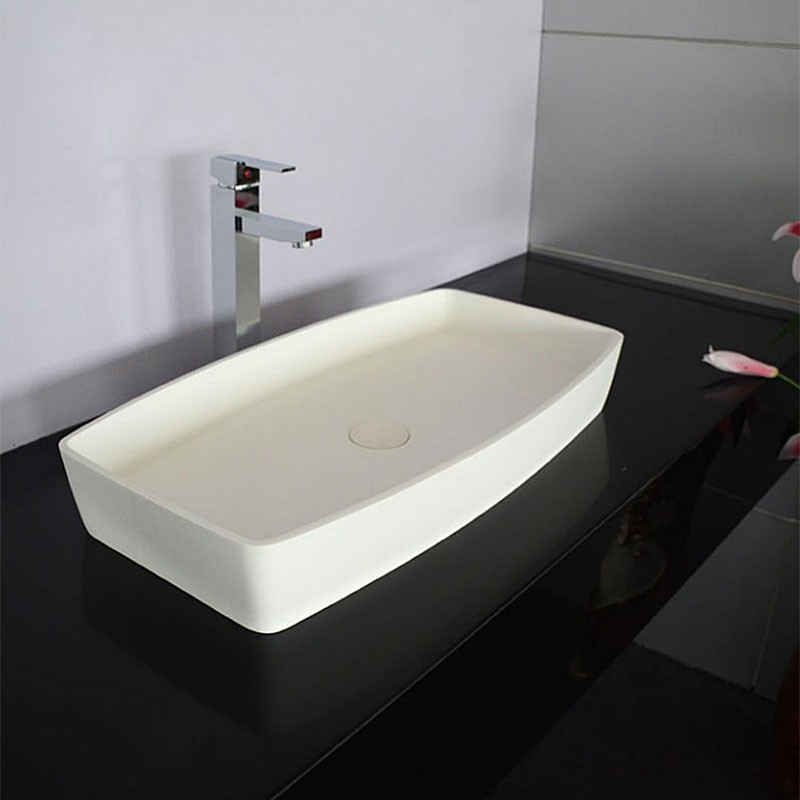 White Rectangular Artificial Stone Above Counter Bathroom Vessel Sink (DK-HB9001)