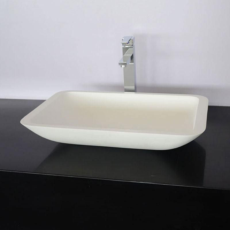 White Rectangular Artificial Stone Above Counter Bathroom Vessel Sink (DK-HB9002)