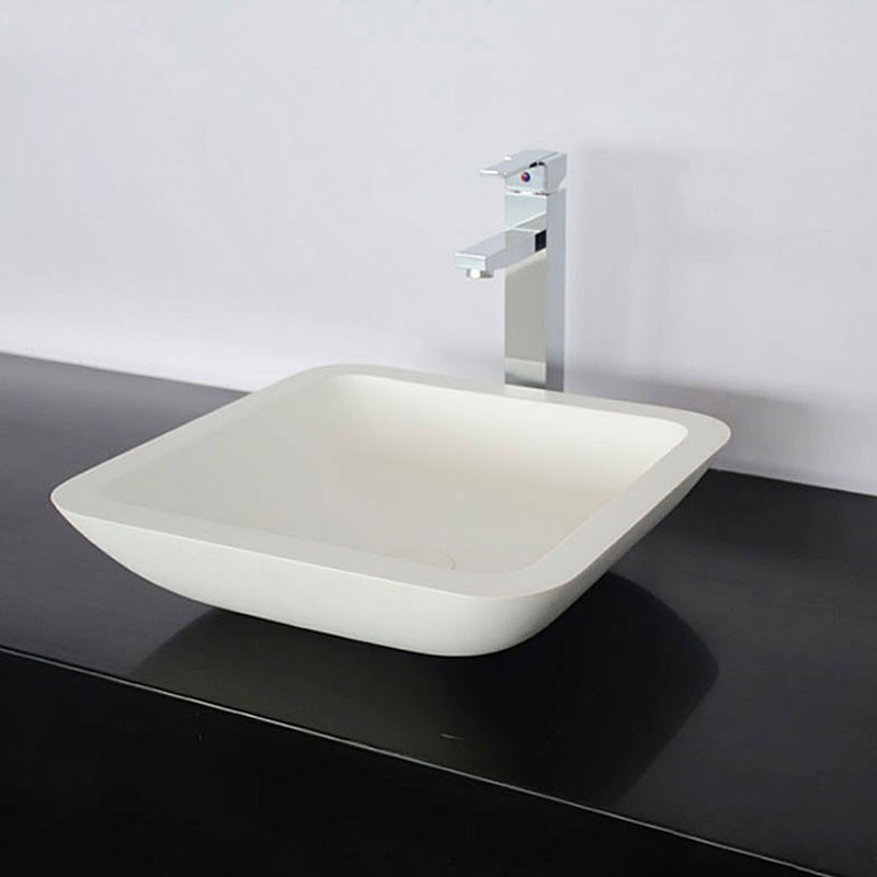 White Square Artificial Stone Above Counter Bathroom Vessel Sink (DK-HB9003)