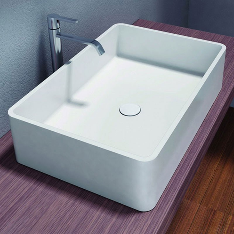 White Rectangular Artificial Stone Above Counter Bathroom Vessel Sink (DK-HB9009)