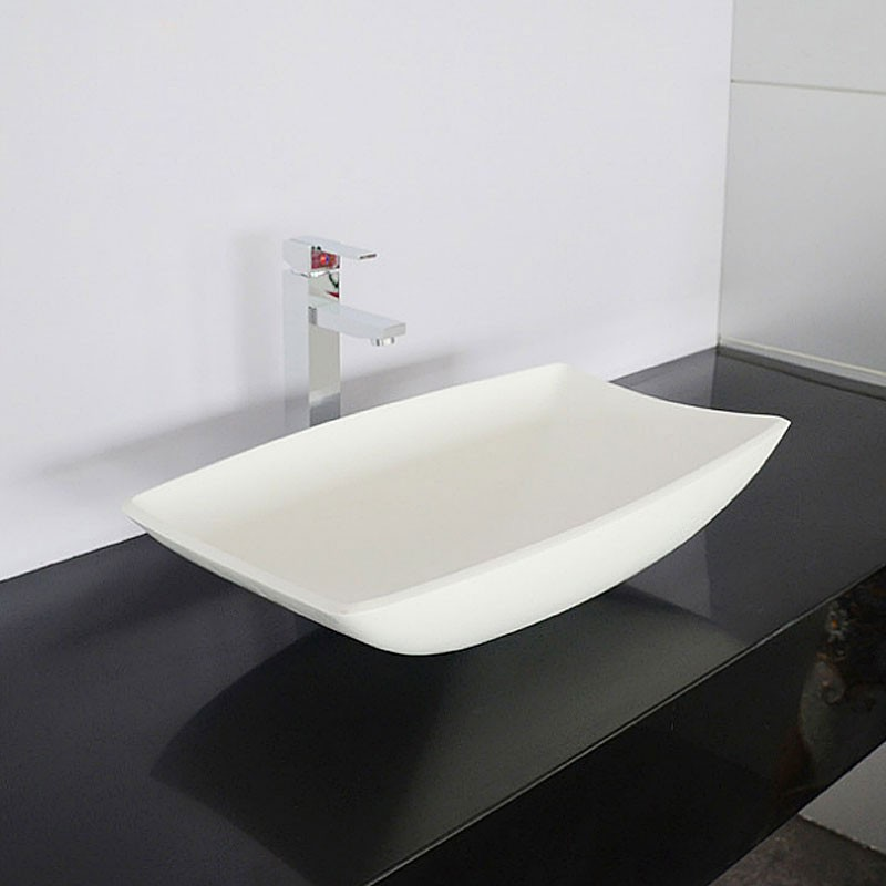 White Rectangular Artificial Stone Above Counter Bathroom Vessel Sink (DK-HB9016)
