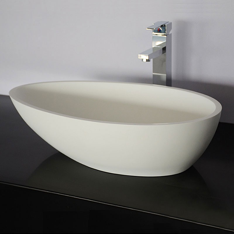 White Oval Artificial Stone Above Counter Bathroom Vessel Sink (DK-HB9035)