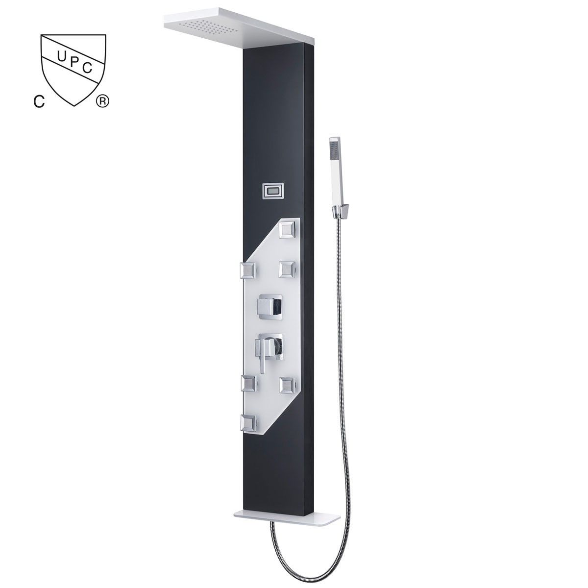 Thermostatic Valve Shower Panel System (Painting Black) - Aluminum Alloy (JX-9757)