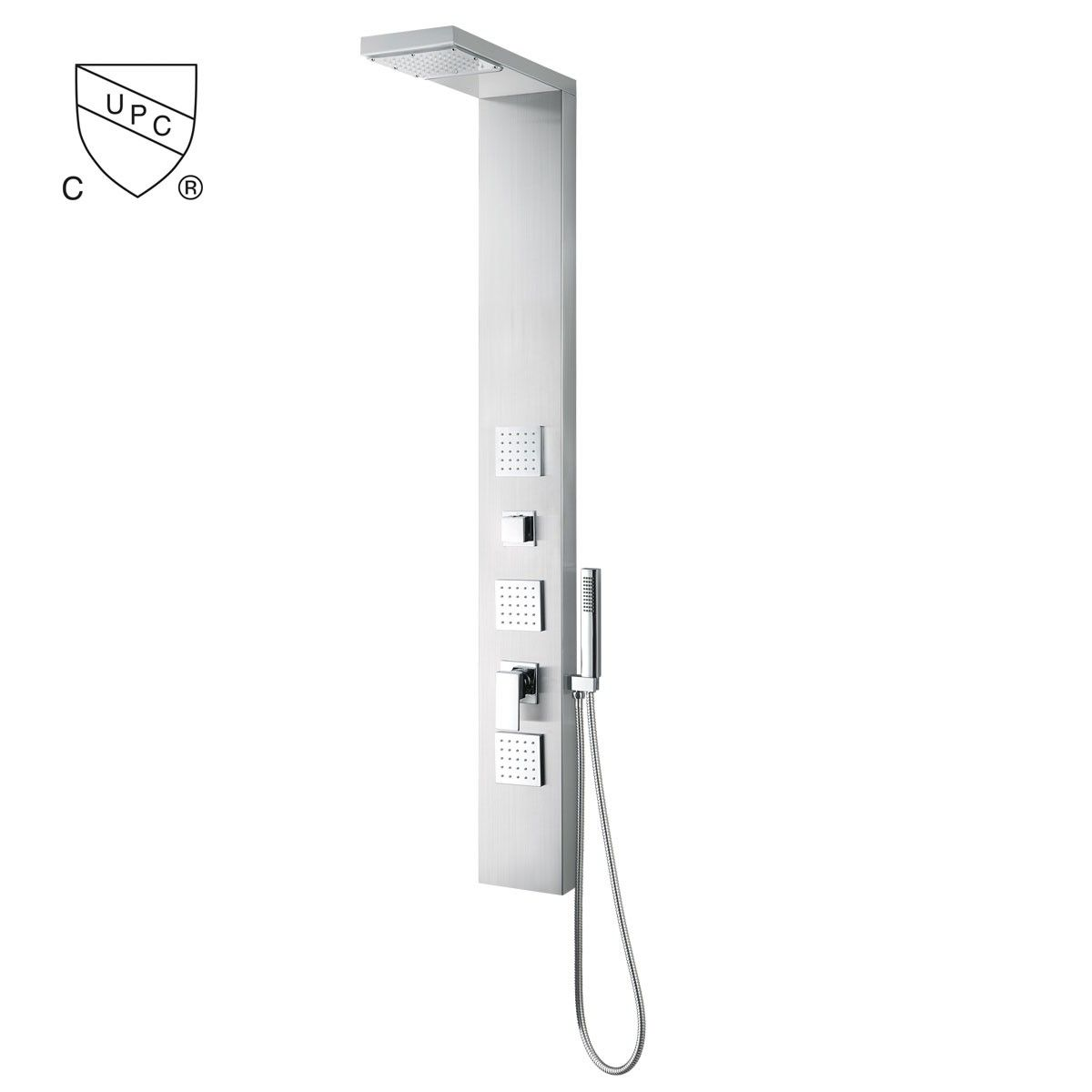 Thermostatic Valve Shower Panel System - Brushed Stainless Steel (JX-9851)