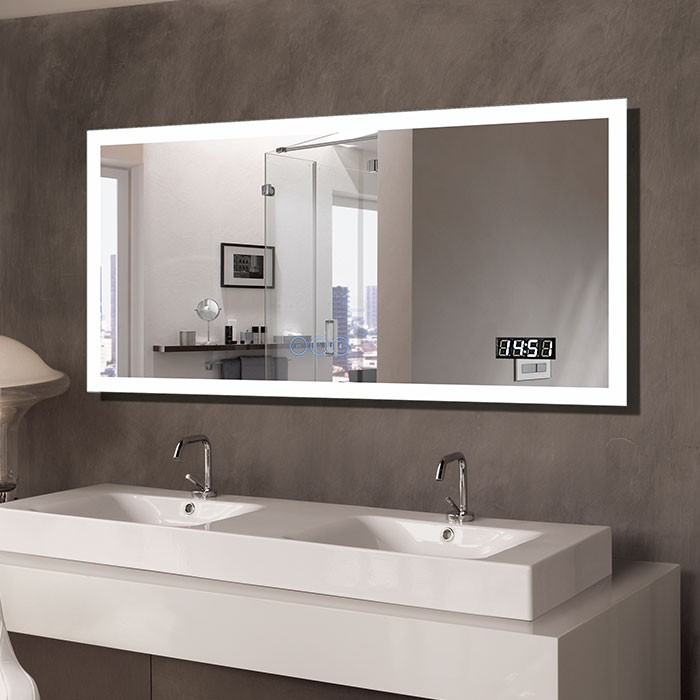 55 X 28 In Horizontal Clock Led Bathroom Mirror With Anti
