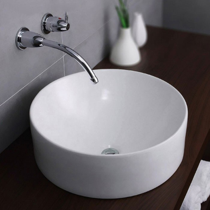 Decoraport White Round Ceramic Above Counter Basin (CL-1265)