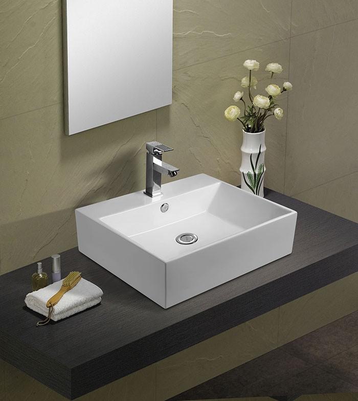 White Ceramic Above Counter Basin (DK-LSE-8114)