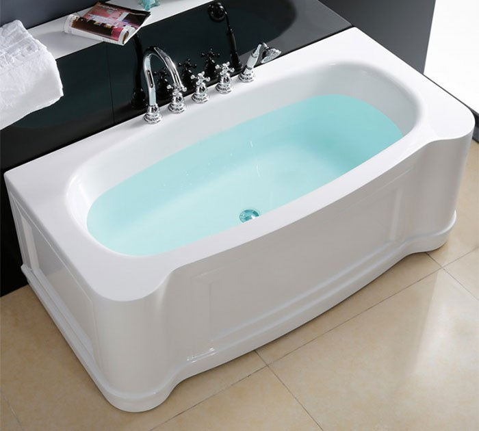 67 In Back to Wall Freestanding Bathtub with Drain - Acrylic White ...