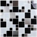 12 in. x 12 in. Electroplated Glass with Stainless Steel Block Mosaic Tile - 8mm Thickness (G2348D)