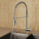 Brushed Nickel Finished Brass Kitchen Faucet - Pull Out Spray Head (82H10-BN)