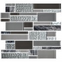 13.2 in. x 11.8 in. Glass and Stone Blend Strip Mosaic Tile - 8mm Thickness (DK-AD808097)