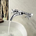 Wall Mounted Basin&Sink Faucet - Three Holes Double Lever - Brass with Chrome Finish (8830B)