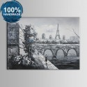 100% Hand Painted Paris Streetscape Oil Painting on Canvas (DK-JX-YH010)